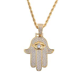 рука алмазов кулон ожерелье хип хоп Фатимы для мужчин женщин Религия Христианство роскошь ожерелье ювелирных изделий золота гальваническим меди цирконами Twis