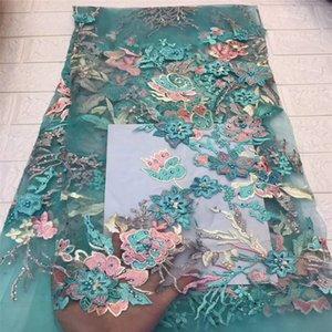 Tollola Тил Африканский шнурок ткани 2019 3D цветы из бисера тюль кружевной ткани высокое качество красивая французский тюль кружевной ткани