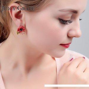 Fashion- Arrivals Hand Enamel Glaze Red Rose Flower Crystal Earring Gold Earring Woman Accessories