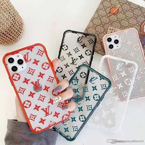 63 lüks tasarımcı şeffaf iphone 11 vaka IphoneXSMAX XR XS Iphone7P 8P 7 8 6P 6 moda markası tam kapak koruyucu telefon kılıfı