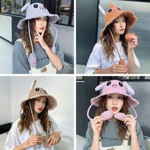 Kedi Peluş Karikatür Tavşan Ears Şapka Açık Çocuk Yetişkin Seyahat Güneş Şapkası TTA1454 Hareketli Sevimli Kadınlar Balıkçı Şapka tutam Kulaklar
