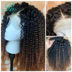 Bal Sarışın Ombre Rengi 360 Dantel Frontal Peruk sapıkça Kıvırcık kısa Dantel Cephesi simulaiton insan saçı Peruk İçin Siyah Kadın sentetik saç