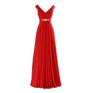 레드 로얄 블루 그린 쉬폰 V - 목 신부 들러리 드레스 크리스탈 주름 2,020 비치 웨딩 파티 드레스와