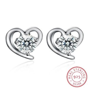 Женщины в форме сердца серьги Корейский ювелирные изделия Романтический Delicate 925 стерлингового серебра Любовь серьги Циркон инкрустированные Простой