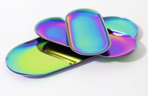 цвета радуги Красочного металла хранение Tray Золотых овальные Пунктирная тарелка с фруктами мелких предметами дисплея ювелирных изделий лоток