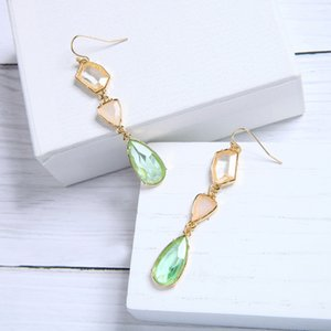 Fresh Alloy Gemstone Crystal Drop Ladies Earrings Simple and Versatile European and American Fashion Cross-Border Jewelry Wish Hot Selling M