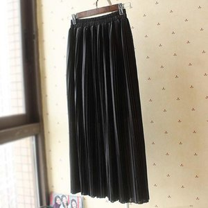 SheBlingBling Metallic Stretch High Waisted Long Skirts Fashion Women Pleated Skirt Spring Summer Solid Skinny Lady Midi Skirts