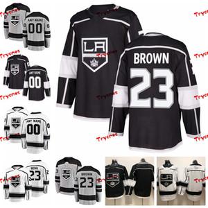 2019 تخصيص Dustin Brown Los Angeles Kings مخيط الفانيلة مخصص قمصان رمادية بديلة # 23 Dustin Brown Hockey Jerseys S-XXXL