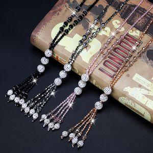 Mode glänzende Kristallperle lange Halskette Einfache Joker Tassel Strand Strickjacke-Kette Frauen-Freizeit-Schmuck 4 Farben