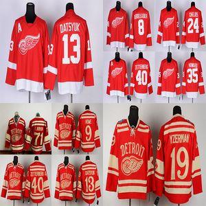 Ailes rouges de Detroit 13 Pavel Datsyuk 40 Zetterb 19 Steve Yzerman 71 Dylan Larkin 9 Howe Rouge Hockey Jerseys
