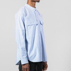 Страх от Бога FFOG Синяя полосатая рубашка мужские дизайнерские куртки высокое качество женские CoupleHip Hop черная рубашка с длинным рукавом HFSSJK175
