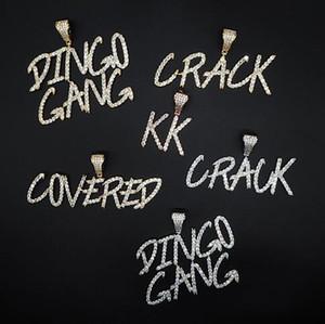 Özel Ad A- Z Cursive Mektupları kolye kolye İçin Erkekler Kadınlar Hediyeler Taşlı Kolye Hip Hop Takı