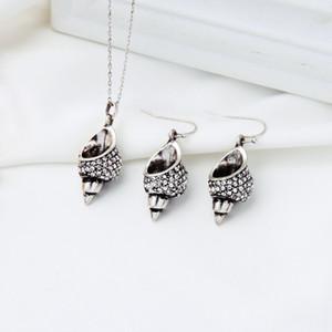 Conch Retro Colar Pingente de brincos para mulheres delicado cristal Vintage Cor Prata Ear Hook Bijuterias Atacado