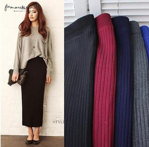 Winter Women Long Woolen Skirt Skirt Elastic Waist Pencil Woman Office Skirt Jupe Vintage Femme Autumn E1123