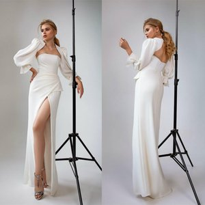 Cheap Simple Sexy Mermaid Wedding Dresses with Jacket Strapless High Side Split Bridal Gowns Hollow Back Sweep Train Wedding Dress Vestidos