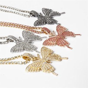 4 Colors Fashion Bling Ice Out chain Butterfly Pendant Necklaces High Quality Hip Hop Tennis Chain Personality Jewelry for Women