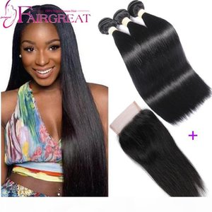 Malaysian Straight Virgin Hair with Closure 3pcs lot Malaysian Human Hair With Closure Malaysian soft Human Hair Bundles Wholesale price