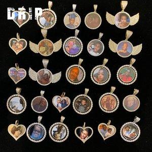 Personalizada foto de memoria fotográfica hacia fuera helado colgante alas del corazón del círculo bling bling colgante del neckalce de la joyería de hip hop foto personlized