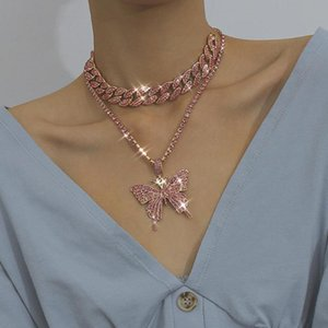 2020 Iced Out ins Luxury Bling Pink Crystal Butterfly Pendant Layered Necklace Women Hip Hop Cuban Chain Choker Necklace Jewelry