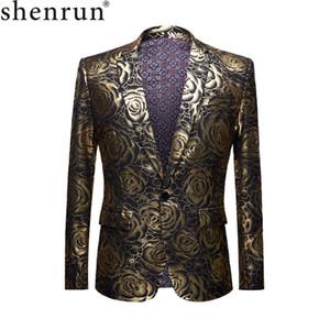 SHENRUN 브랜드 플러스 사이즈 코트 남성 캐주얼 블레이저 옴므 디자인 슬림 피트 패션 골드 로즈 패턴 정장 재킷 DJ 가수 의상