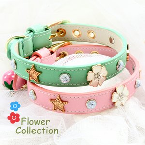 Dog collar leather leash cat collar pet product Real calfskin oxhide cattle hide macaroon color diamond flower bow new arrival