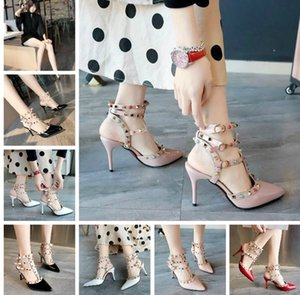 2019 Korean sexy High-heeled single shoe female spring summer new version of rivets pointed high heels catchy sandals female