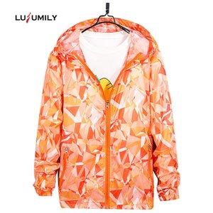 Lusumily Plus Size 4XL 2019 New Jacket Women Sportswear Ultraleichte atmungsaktiv Drucken Sunscreen Windjacke Frauen Kapuzenjacken
