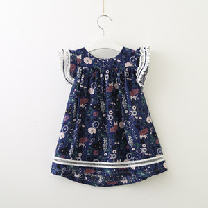 Girls Floral Dress Children Fashion Pleated Skirts Kids Cute and Sweet Style Dresses Print Skirt Kids Casual Lolita Style Cloth Wholesale