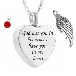 Dieu vous a dans ses bras avec Ange Aile charme crémation bijoux souvenir Memorial urne Collier Avec pierre de naissance Cristal