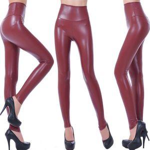Cintura alta Faux Leather Leggings Mulheres Hot Sexy Preto Faux Leather Leggings brilhantes calças elásticos Plus Size Calças S-2XL