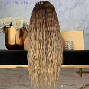 L 13x4 Synthetic Lace Front Simulation Human Hair Wigs Ombre Brown Honey Blonde Wig 360 Lace Frontal Wig Preplucked 180 %Density