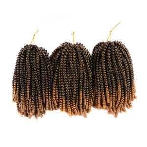 Ombre Spring Twist Extensiones de Cabello Rebote Trenzado Crochet Kanekalon Sintético 30 hilos Color Negro Para Mujeres