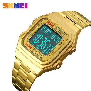 SKMEI Men Fashion Outdoor Digital Sports Watches Countdown Alloy Strap Dual Time Luminous Wristwatch Saat 1337 Relogio Masculino