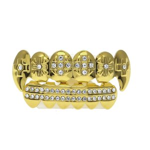 Mens Designer Teeth Grillz Vampire Grillz Set Environmentally Copper Plated Gold Grillz Teeth Punk Hip Hop Jewelry Teeth Caps