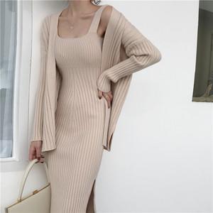 2019 neue hochwertige winter schwarz frauen casual langärmelige strickjacke + hosenträger pullover weste dress zweiteilige runway dress anzug