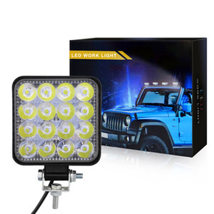 LED ضوء العمل - 42W 48W الفيضانات LED ضوء بار لجرار الطرق الوعرة 4WD شاحنة ATV UTV SUV لتعليم قيادة السيارات مصباح النهار الجري الخفيف