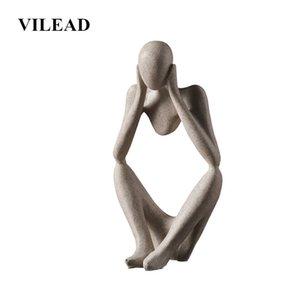 VILEAD Nordic Abasract Thinker Statue estatueta de resina Office Home decoração de mesa Decoração Handmade Artesanato Escultura T200624 Arte Moderna