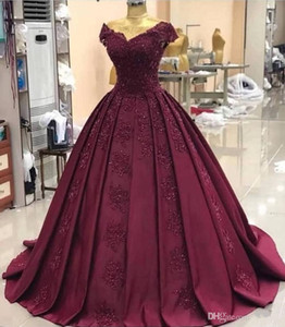 Sexy Plus Size africanos Lantejoulas Lace Borgonha Prom Dresses 2020 Longa muçulmana Dubai Árabe Baile vestido formal Vestido Vestidos Quinceanera