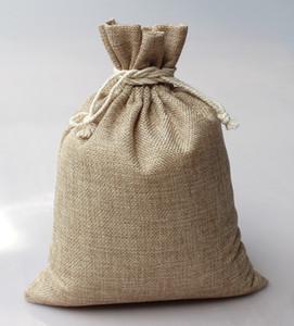 Hot50pcs Natural bolsas de arpillera Hessian Jute joyas bolsa de regalo fiesta de cumpleaños de Navidad lazo de regalo bolsa de embalaje envío gratis