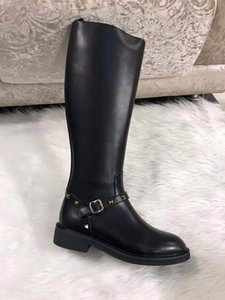 les femmes en cuir de vache bottes de pluie genou mode de dames de bottes hautes chaussures mariage robe femme automne hiver partie rivets dames longues bottes
