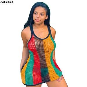 Nuevas mujeres Vestido Rainbow Rayas Imprimir Gauze Grid Ve aunque Sexy Bodycon Mini Midi Dress Dress Night Vestidos de fiesta F8220
