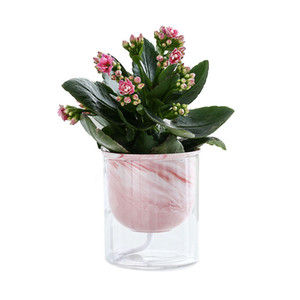 Marble Look Lazy Flowerpot Home Office Tabletop Self Watering Planter Ceramic Glass Combination Flower Pot for Succulent Herb