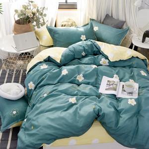4pcs moderno conjunto de cama roupa de cama super king size reativa impressão capa de edredão set pastoral cama casa estilo definido folha plana