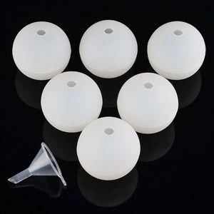 Nuevo diseño 6pcs de silicona de la esfera de la bola redonda de hielo del molde del cubo de la bandeja de bricolaje jalea molde del caramelo de chocolate con un pequeño embudo Bar Suministros