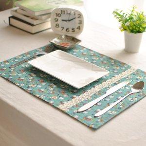 Japanische Pastoral Grün-Blumentuch Serviette Baumwolle und Leinen Double Side West-Meal-Untersetzer Tischmatte Isolations-Pads 30 * 40cm
