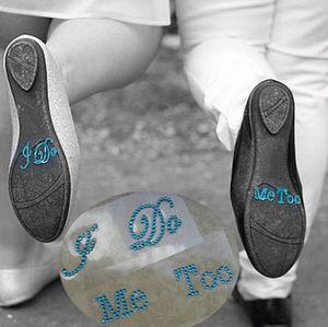 Creative doux autocollants de mariage Bride I Do Me Too Set He Mine Elle mine Chaussures strass mariage Stickers