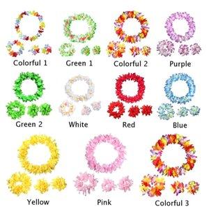 4pcs Set Hawaiian Flower Leis Garland Necklace Bracelet Neck Ring Dress Party