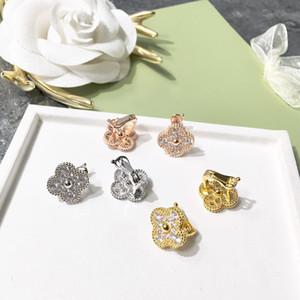 gros 925 stering argent de qualité supérieure 1.2cm fleur Belle point milieu plein bord de perles de forage à quatre feuilles boucles d'oreilles à ongles de trèfle