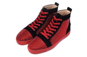 Fashion White Rhinetone Design Crystal Genuine Leather for men women Red bottom sneakers Luxury Causal Shoes leisure trainer footwear c22 02