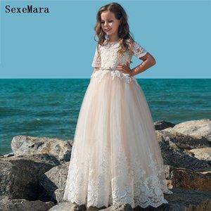 Custom A-Line Flower Girl Dresses For Weddings Short Sleeves Kids Prom Gowns First Communion Dresses Custom Size
